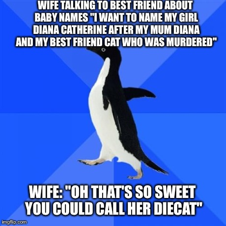"Socially Awkward Penguin Meme | WIFE TALKING TO BEST FRIEND ABOUT BABY NAMES ""I WANT TO NAME MY GIRL DIANA CATHERINE AFTER MY MUM DIANA AND MY BEST FRIEND CAT WHO WAS MURDE 
