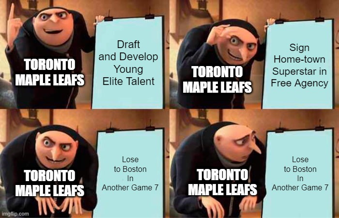 Love my leafs, but damn the pattern is funny |  Draft and Develop Young Elite Talent; Sign Home-town Superstar in Free Agency; TORONTO MAPLE LEAFS; TORONTO MAPLE LEAFS; Lose to Boston In Another Game 7; Lose to Boston In Another Game 7; TORONTO MAPLE LEAFS; TORONTO MAPLE LEAFS | image tagged in memes,gru's plan,toronto maple leafs | made w/ Imgflip meme maker