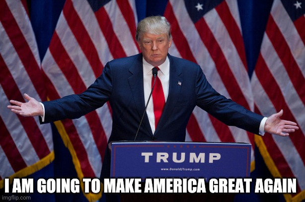 Donald Trump | I AM GOING TO MAKE AMERICA GREAT AGAIN | image tagged in donald trump | made w/ Imgflip meme maker