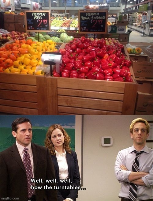 Peppers: The sign labels looked as though they switched places. | image tagged in how the turntables,memes,you had one job,peppers,fails,store | made w/ Imgflip meme maker