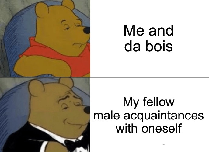 Me and da bois looking at thesaurus.com |  Me and da bois; My fellow male acquaintances with oneself | image tagged in memes,tuxedo winnie the pooh,da_bois stream | made w/ Imgflip meme maker