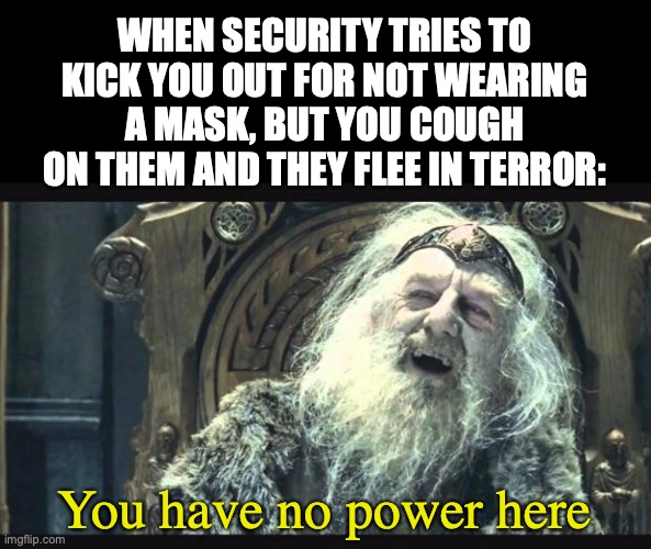 You have no power here |  WHEN SECURITY TRIES TO KICK YOU OUT FOR NOT WEARING A MASK, BUT YOU COUGH ON THEM AND THEY FLEE IN TERROR:; You have no power here | image tagged in you have no power here,coughing,wear a mask,covid19,corona,security | made w/ Imgflip meme maker