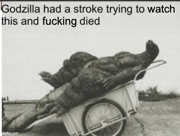 watch fucking | image tagged in godzilla had a stroke trying to read this and fricking died | made w/ Imgflip meme maker