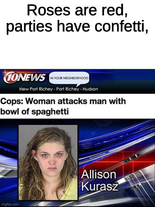 Roses are red, parties have confetti, | image tagged in news | made w/ Imgflip meme maker