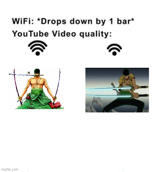 Wifi drops by 1 bar | image tagged in wifi drops by 1 bar,anime,animeme,anime meme,onepiece | made w/ Imgflip meme maker