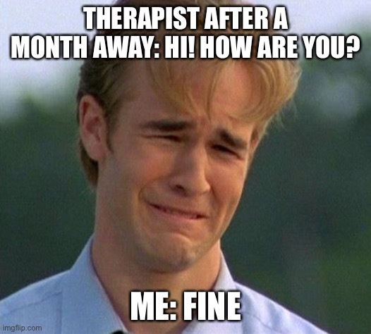 Doing great |  THERAPIST AFTER A MONTH AWAY: HI! HOW ARE YOU? ME: FINE | image tagged in memes,1990s first world problems,mental health,therapy,counseling | made w/ Imgflip meme maker