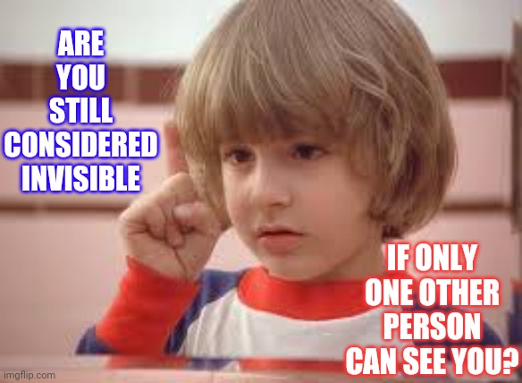 Invisible |  ARE YOU STILL CONSIDERED INVISIBLE; IF ONLY ONE OTHER PERSON CAN SEE YOU? | image tagged in red rum,hmmm,i have several questions,memes,sometimes i wonder,the invisible man | made w/ Imgflip meme maker