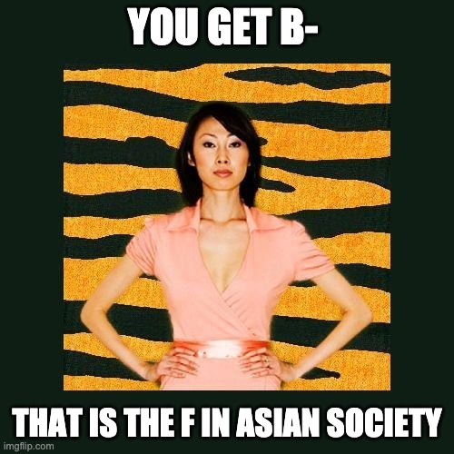 Tiger mom be like |  YOU GET B-; THAT IS THE F IN ASIAN SOCIETY | image tagged in tiger mom,bad grades | made w/ Imgflip meme maker