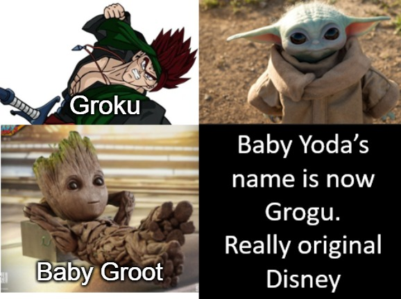 Baby Yoda gets a name |  Groku; Baby Groot | image tagged in baby yoda,the mandalorian | made w/ Imgflip meme maker