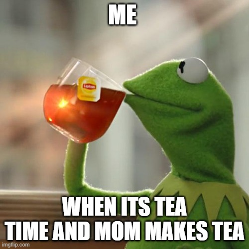 im havig fun |  ME; WHEN ITS TEA TIME AND MOM MAKES TEA | image tagged in memes,kermit the frog | made w/ Imgflip meme maker