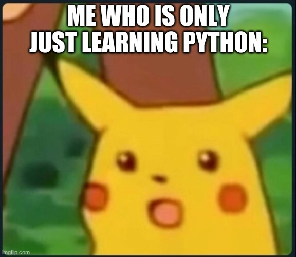 Surprised Pikachu | ME WHO IS ONLY JUST LEARNING PYTHON: | image tagged in surprised pikachu | made w/ Imgflip meme maker