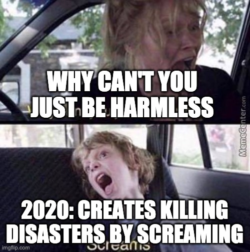 Why Can't You Just Be Normal | WHY CAN'T YOU JUST BE HARMLESS 2020: CREATES KILLING DISASTERS BY SCREAMING | image tagged in why can't you just be normal | made w/ Imgflip meme maker