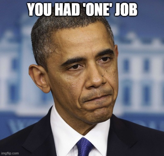 YOU HAD 'ONE' JOB | image tagged in you had one job | made w/ Imgflip meme maker