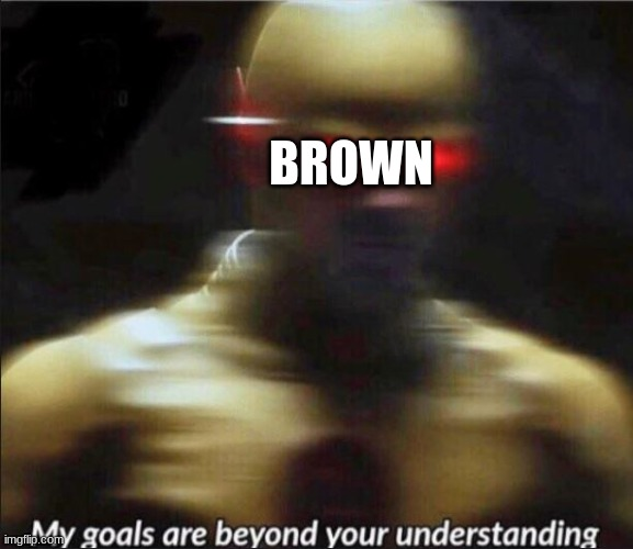 my goals are beyond your understanding | BROWN | image tagged in my goals are beyond your understanding | made w/ Imgflip meme maker
