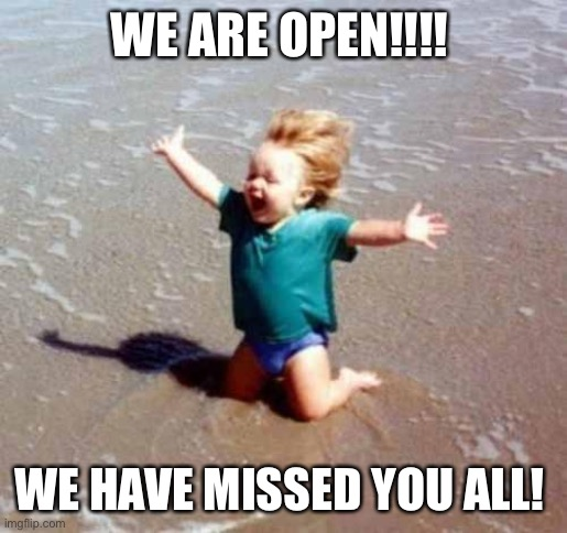 Finally we are open! |  WE ARE OPEN!!!! WE HAVE MISSED YOU ALL! | image tagged in celebration | made w/ Imgflip meme maker