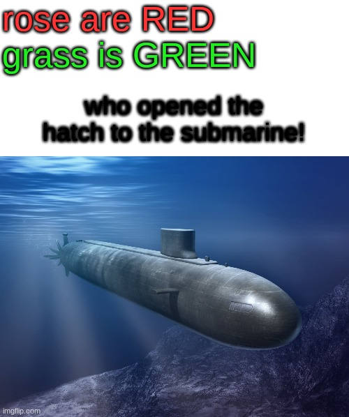 a peom... |  rose are RED; grass is GREEN; who opened the hatch to the submarine! | image tagged in blank white template,submarine | made w/ Imgflip meme maker