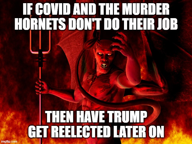 Satan |  IF COVID AND THE MURDER HORNETS DON'T DO THEIR JOB; THEN HAVE TRUMP GET REELECTED LATER ON | image tagged in satan | made w/ Imgflip meme maker