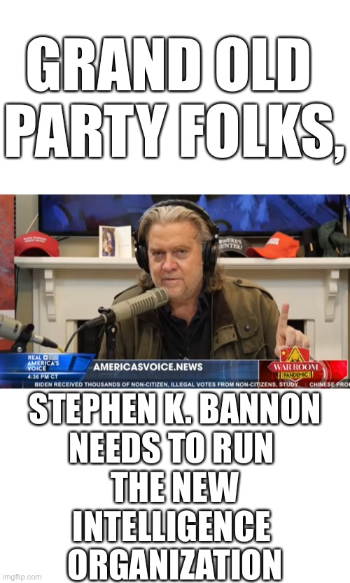 The GOP needs a new intelligence organization! |  GRAND OLD  PARTY FOLKS, STEPHEN K. BANNON NEEDS TO RUN  THE NEW INTELLIGENCE  ORGANIZATION | image tagged in republican party,gop,election 2020,president trump,election fraud,voter fraud | made w/ Imgflip meme maker
