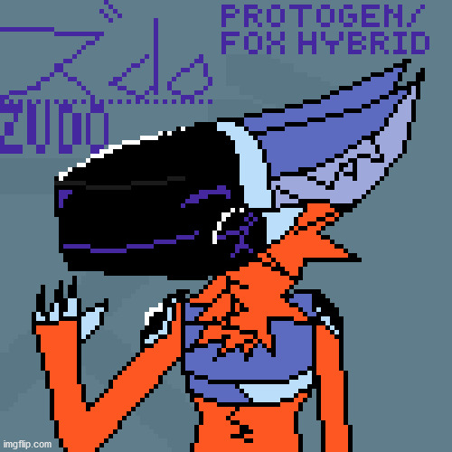 there i finished my drawinggg uwu.. upvote if you like it | image tagged in protogen,zudo,drawing,pixel,pixel art | made w/ Imgflip meme maker
