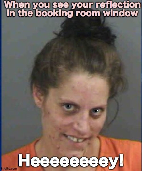 Heeey |  When you see your reflection in the booking room window; Heeeeeeeey! | image tagged in h5ndym5n,hey,pretty,funny,girl,police | made w/ Imgflip meme maker