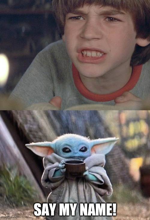 Say my name |  SAY MY NAME! | image tagged in baby yoda | made w/ Imgflip meme maker