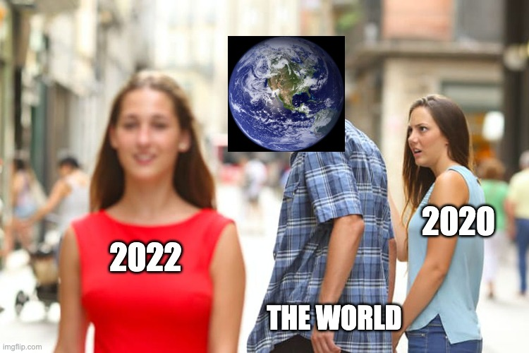 WHERE IS 2022 |  2020; 2022; THE WORLD | image tagged in memes,distracted boyfriend | made w/ Imgflip meme maker