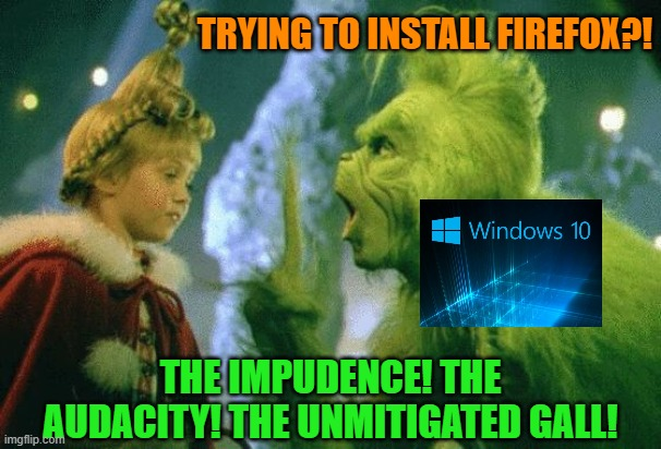 I got a new laptop |  TRYING TO INSTALL FIREFOX?! THE IMPUDENCE! THE AUDACITY! THE UNMITIGATED GALL! | image tagged in grinch,windows 10,microsoft,firefox,internet,memes | made w/ Imgflip meme maker