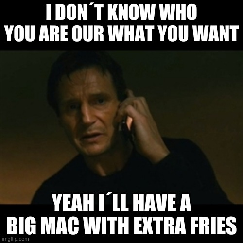 Liam Neeson Taken |  I DON´T KNOW WHO YOU ARE OUR WHAT YOU WANT; YEAH I´LL HAVE A BIG MAC WITH EXTRA FRIES | image tagged in memes,liam neeson taken | made w/ Imgflip meme maker