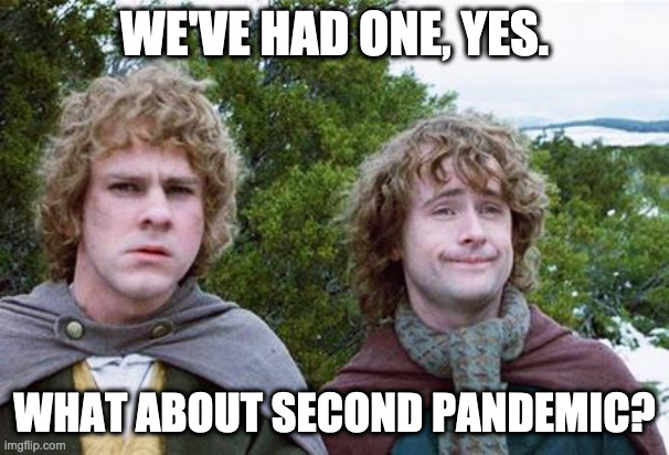 Second Breakfast |  WE'VE HAD ONE, YES. WHAT ABOUT SECOND PANDEMIC? | image tagged in second breakfast,AdviceAnimals | made w/ Imgflip meme maker