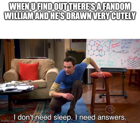 I no need sleep need answers |  WHEN U FIND OUT THERE'S A FANDOM WILLIAM AND HE'S DRAWN VERY CUTELY | image tagged in i don't need sleep i need answers | made w/ Imgflip meme maker