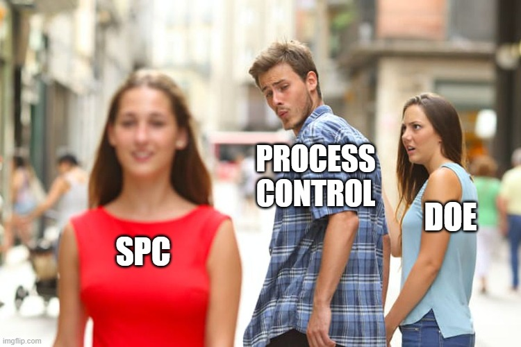 Distracted Boyfriend Meme |  PROCESS CONTROL; DOE; SPC | image tagged in memes,distracted boyfriend | made w/ Imgflip meme maker
