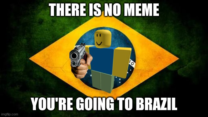 GO TO B R A Z I L |  THERE IS NO MEME; YOU'RE GOING TO BRAZIL | image tagged in brazil flag,brazil | made w/ Imgflip meme maker