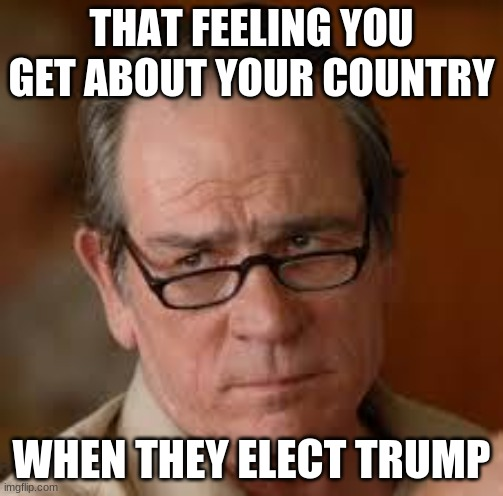 my face when someone asks a stupid question |  THAT FEELING YOU GET ABOUT YOUR COUNTRY; WHEN THEY ELECT TRUMP | image tagged in my face when someone asks a stupid question | made w/ Imgflip meme maker