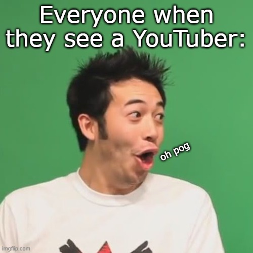 pogchamp |  Everyone when they see a YouTuber:; oh pog | image tagged in pogchamp | made w/ Imgflip meme maker