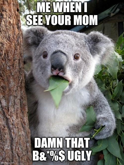 Surprised Koala |  ME WHEN I SEE YOUR MOM; DAMN THAT B&*%$ UGLY | image tagged in memes,surprised koala | made w/ Imgflip meme maker