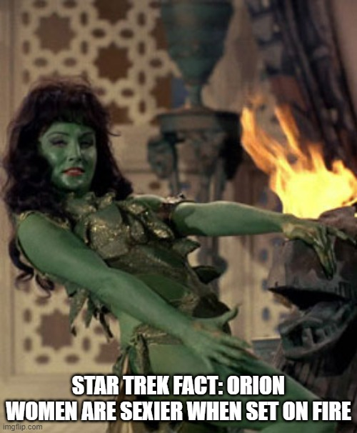 Light It Up Babe |  STAR TREK FACT: ORION WOMEN ARE SEXIER WHEN SET ON FIRE | image tagged in star trek dancer | made w/ Imgflip meme maker