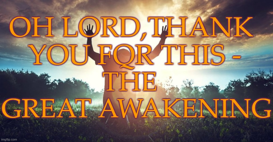 Oh Lord, Thank You For The Great Awakening |  OH LORD,THANK    YOU FQR THIS -; THE   GREAT AWAKENING | image tagged in thank you,god,thank god,the great awakening,trump | made w/ Imgflip meme maker