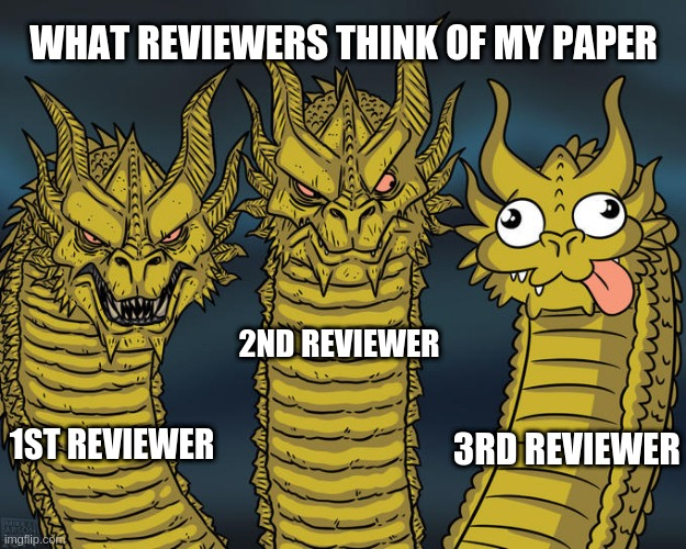 x |  WHAT REVIEWERS THINK OF MY PAPER; 2ND REVIEWER; 3RD REVIEWER; 1ST REVIEWER | image tagged in research | made w/ Imgflip meme maker