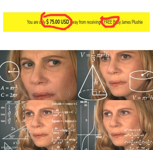 CONFUSED MATH LADY | image tagged in confused math lady,memes | made w/ Imgflip meme maker