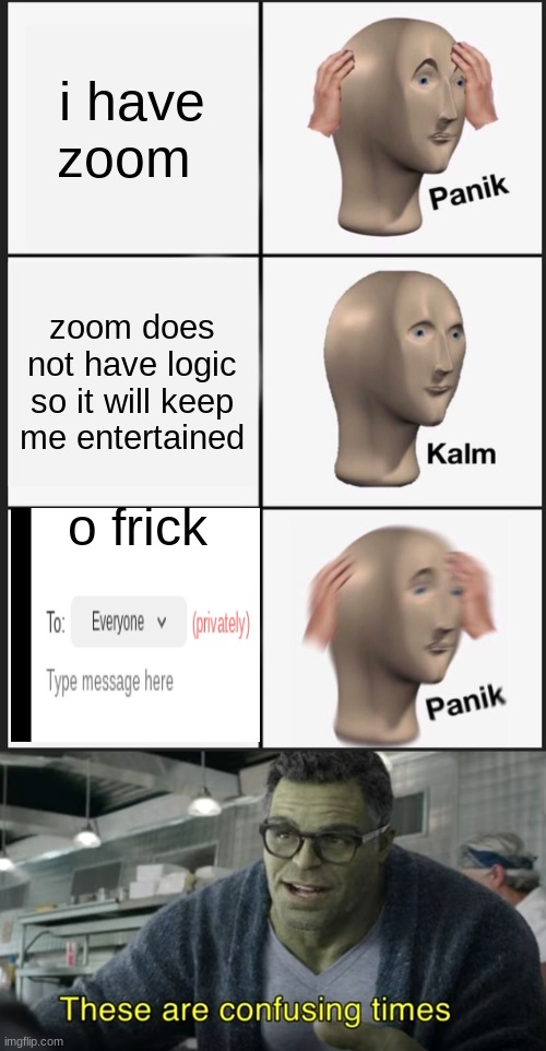 i have zoom; zoom does not have logic so it will keep me entertained; o frick | image tagged in memes,panik kalm panik,these are confusing times | made w/ Imgflip meme maker