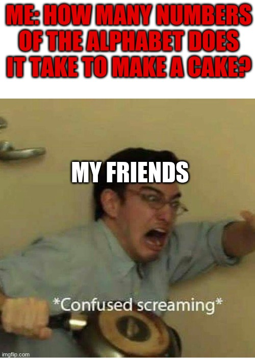 confused screaming |  ME: HOW MANY NUMBERS OF THE ALPHABET DOES IT TAKE TO MAKE A CAKE? MY FRIENDS | image tagged in confused screaming | made w/ Imgflip meme maker