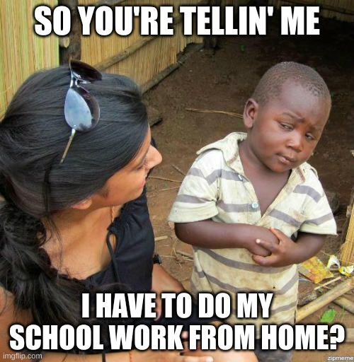 black kid |  SO YOU'RE TELLIN' ME; I HAVE TO DO MY SCHOOL WORK FROM HOME? | image tagged in black kid | made w/ Imgflip meme maker