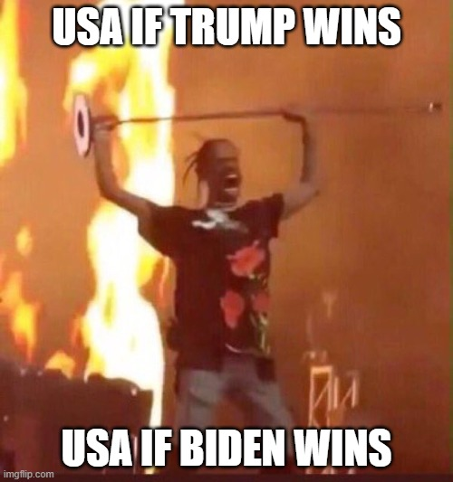 Travis Scott  |  USA IF TRUMP WINS; USA IF BIDEN WINS | image tagged in travis scott | made w/ Imgflip meme maker