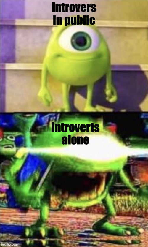 meme about introverts |  Introvers in public; Introverts alone | image tagged in mike wazowski | made w/ Imgflip meme maker