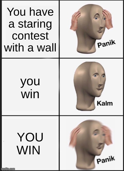 Panik Kalm Panik |  You have a staring contest with a wall; you win; YOU WIN | image tagged in memes,panik kalm panik | made w/ Imgflip meme maker