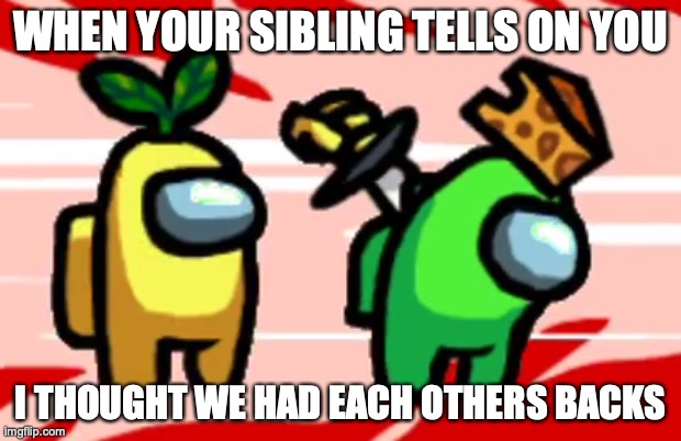 Among Us Stab |  WHEN YOUR SIBLING TELLS ON YOU; I THOUGHT WE HAD EACH OTHERS BACKS | image tagged in among us stab | made w/ Imgflip meme maker