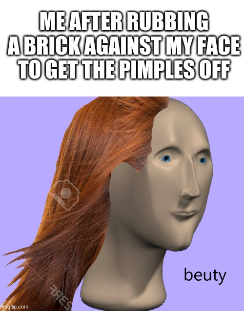 beuty 101 |  ME AFTER RUBBING A BRICK AGAINST MY FACE TO GET THE PIMPLES OFF | image tagged in beuty,brick,pimples,meme man | made w/ Imgflip meme maker