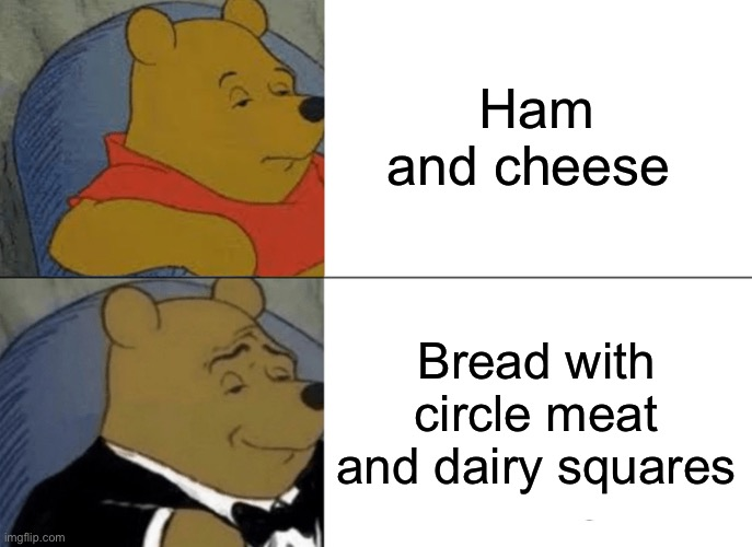 Tuxedo Winnie The Pooh Meme |  Ham and cheese; Bread with circle meat and dairy squares | image tagged in memes,tuxedo winnie the pooh | made w/ Imgflip meme maker