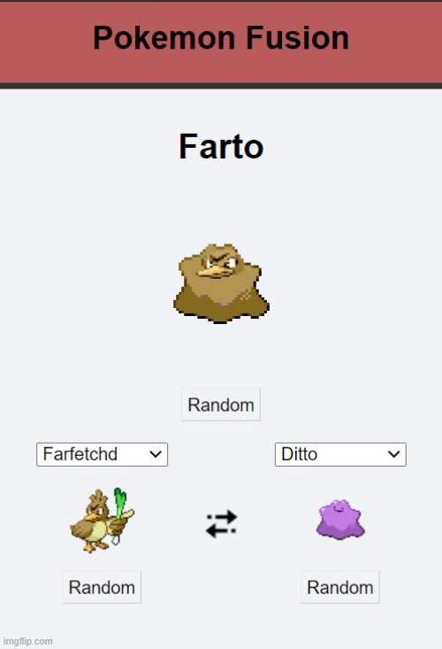I found this Pokemon Fusion Website and I love it! https://pokemon.alexonsager.net/ | image tagged in pokemon | made w/ Imgflip meme maker