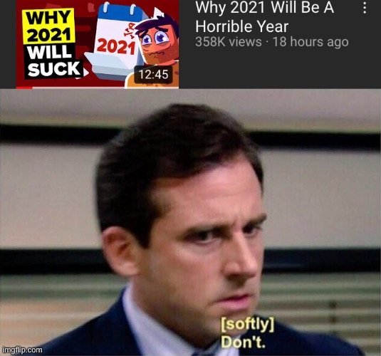 Why 2021 will suck | image tagged in michael scott don't softly,meme,funny,funny meme,2021 | made w/ Imgflip meme maker